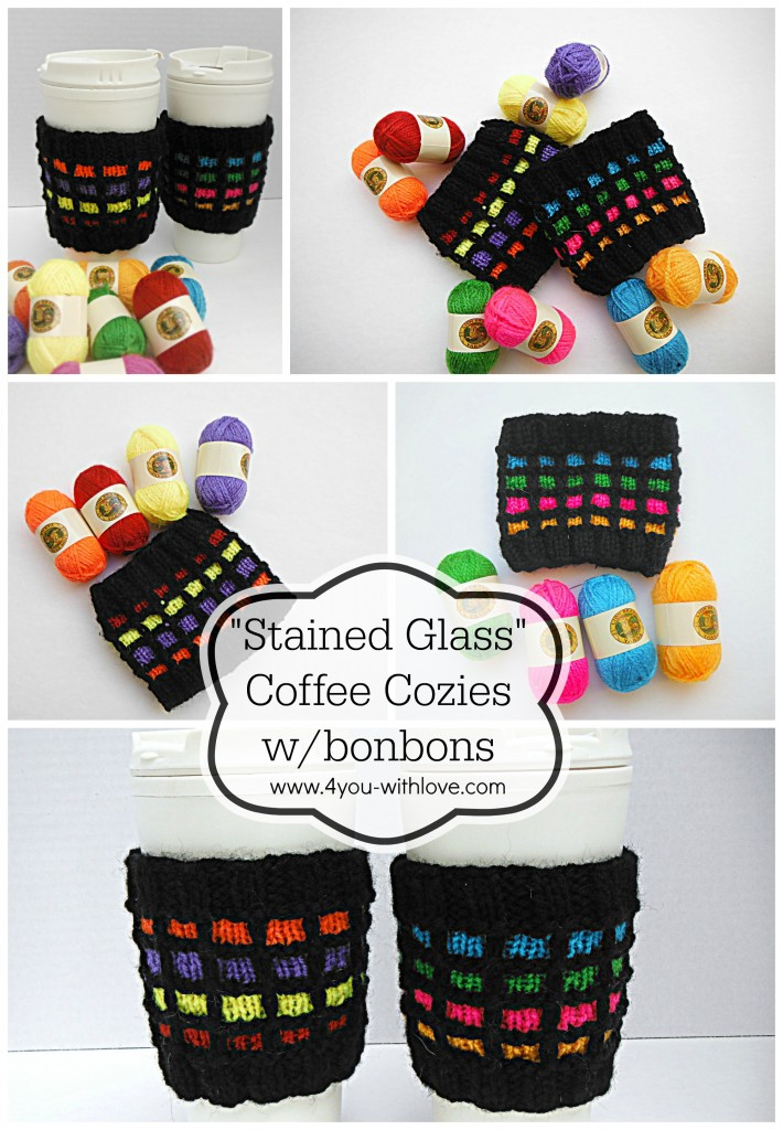 Stained Glass Knitted Coffee Cozies w/Bonbons