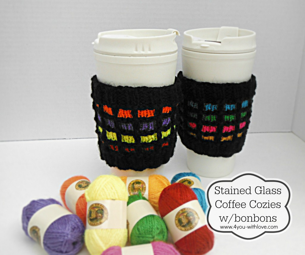 stained glass cup cozies labeled
