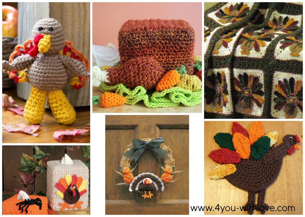 6 Free Crochet Turkey Patterns Collage 3