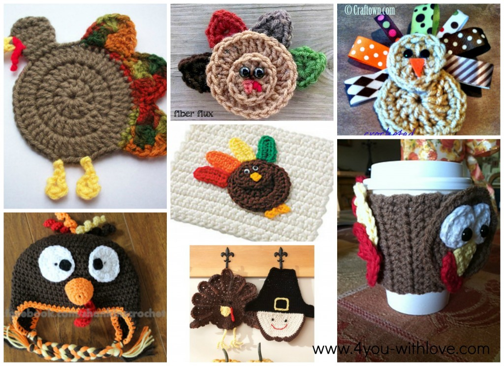 7 free turkey crochet patterns collage 2