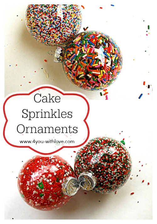 cup cake sprinkles ornaments