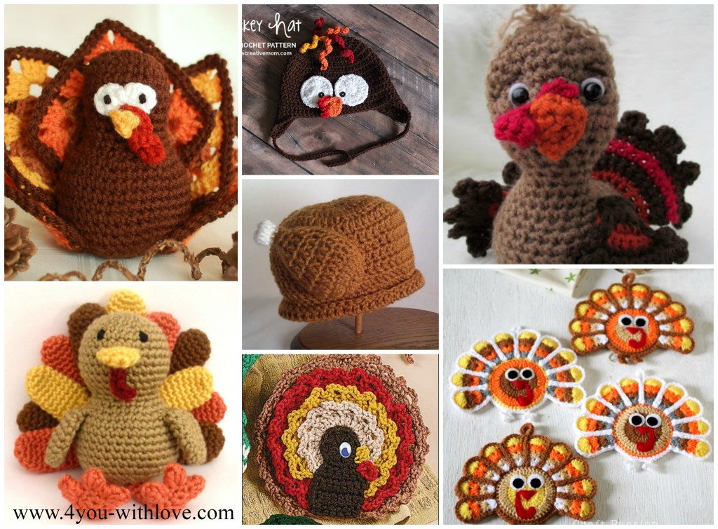 Free Crochet Turkey Patterns Collage 1