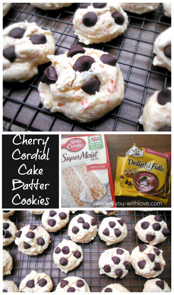 Cherry Cordial Cake Batter Cookies