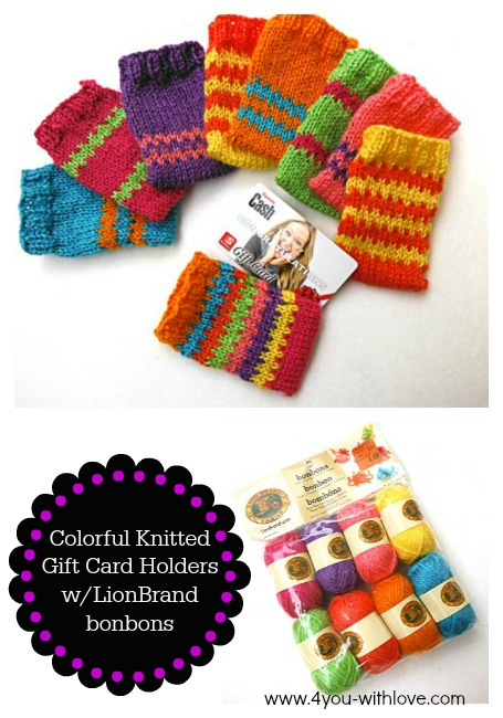 Lion Brand Yarn Knitted Gift Card Holders