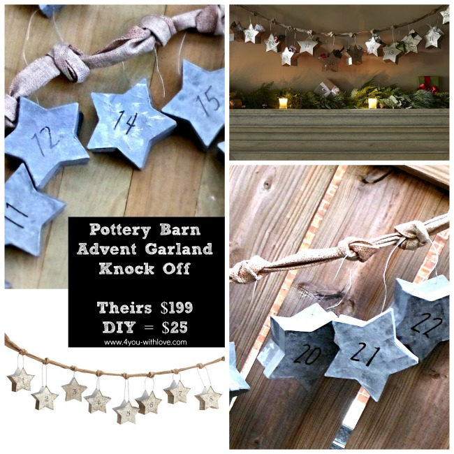 Pottery Barn Knock Off Star Garland Advent Calendar