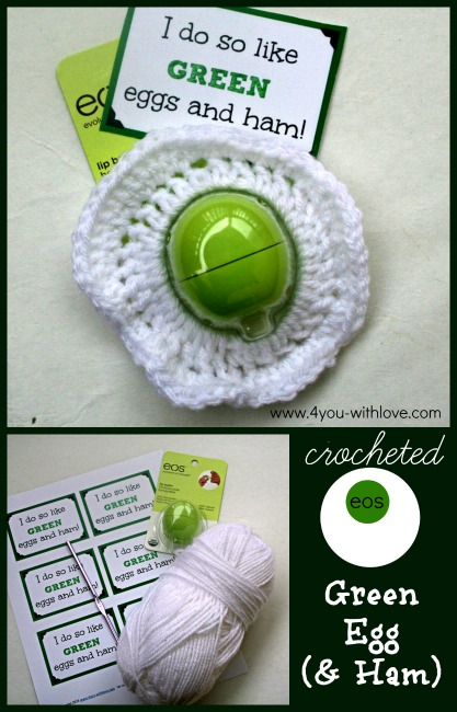 Crocheted Green Egg & Ham eos lip balm