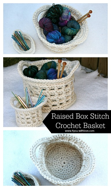 Large Raised Box Stitch Crochet Basket