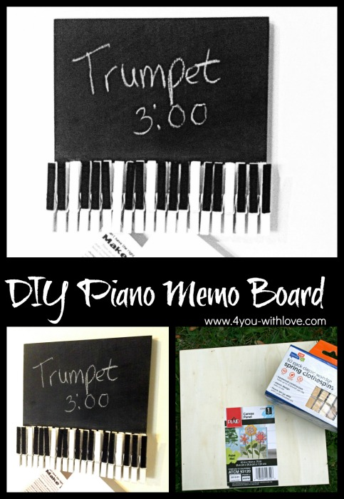piano memo board with clothespins