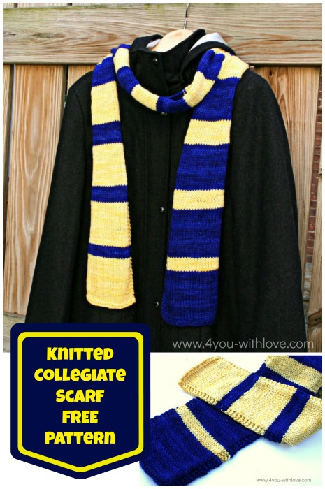 Knitted Collegiate Scarf Pattern