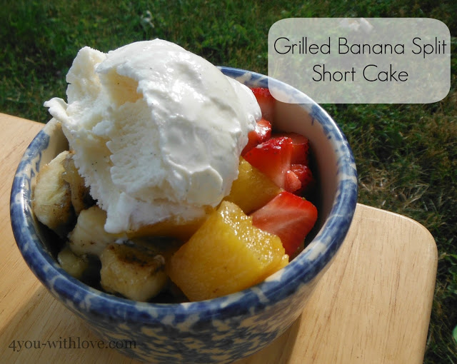 Grilled Banana Split Short Cake