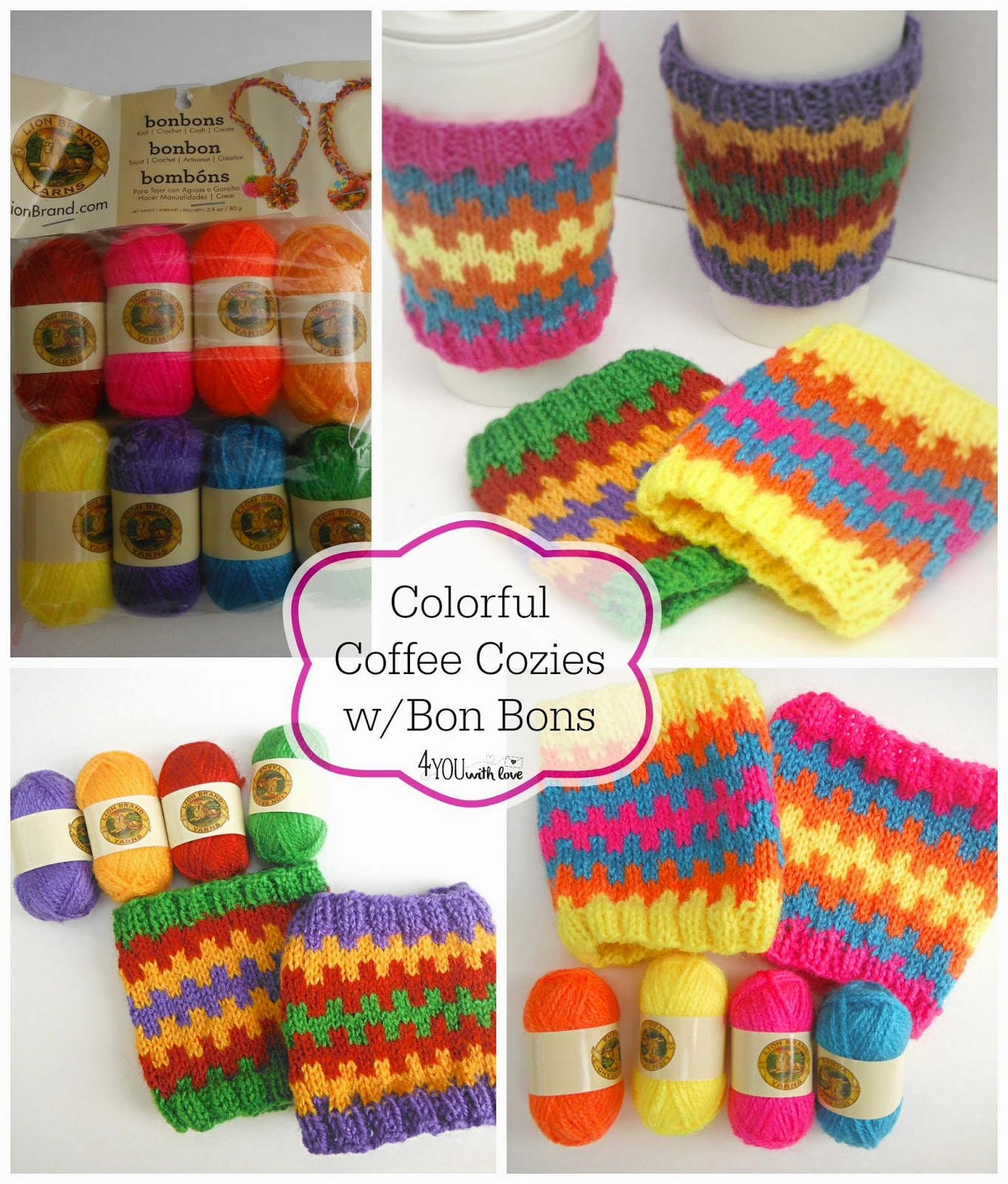 Colorful Coffee Cozies with Bonbons