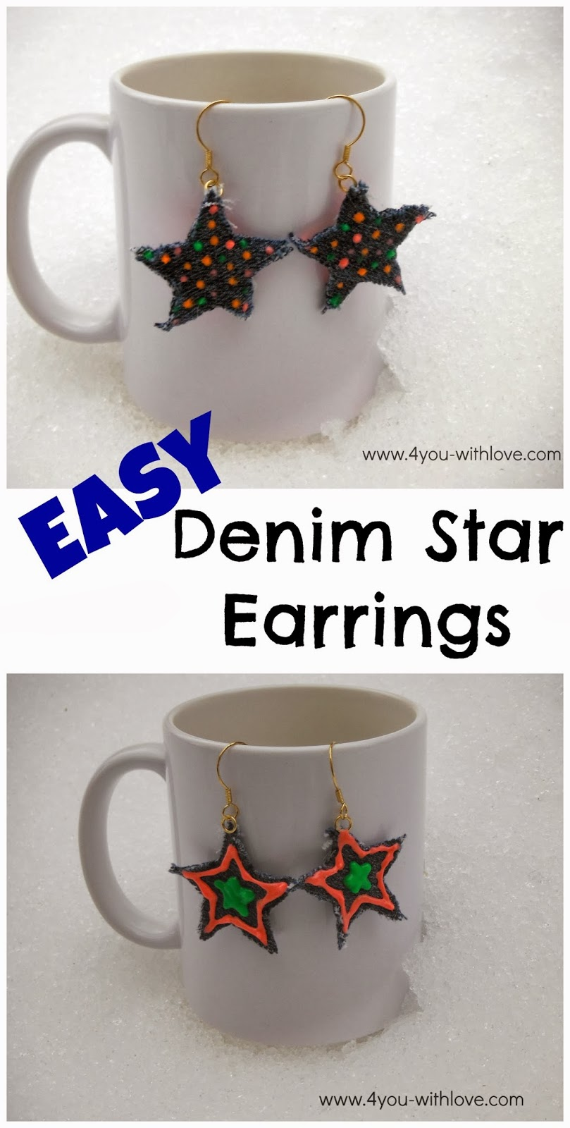 Denim Star Earrings with Tulip Neon Paint