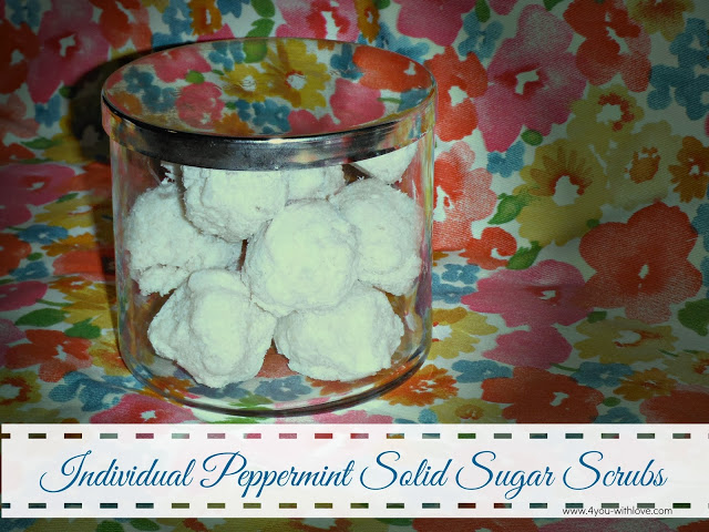 Individual Peppermint Solid Sugar Scrubs (#myfavoritebloggers #homemadeholiday)